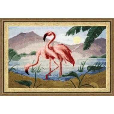 """Набор для вышивки крестом Золотое Руно РС-013 """"Розовые фламинго"""""""