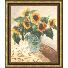 """Набор для вышивки Золотое руно СМ-015 """"Подсолнухи в вазе"""""""