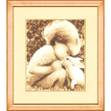 """Набор для вышивки крестом Золотое Руно СВ-009 """"Девочка с кроликом"""""""