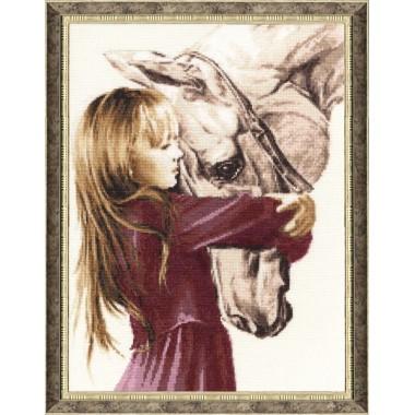 """Набор для вышивки Золотое Руно СВ-016 """"Девочка с лошадью"""""""