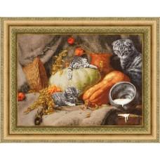 """Набор для вышивки крестом Золотое Руно СЖ-055 по мотивам картины Е. Калиноской """"Теплое местечко"""""""