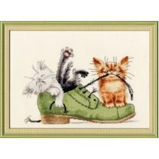 """Набор для вышивки Золотое руно ВК-033 """"Котята в ботинке"""""""