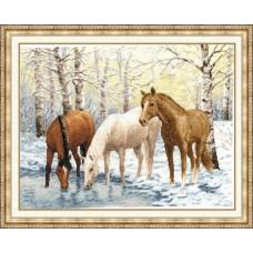 """Набор для вышивки Золотое Руно З-037 """"Лошади у реки"""""""