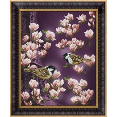 """Набор для вышивания крестиком Краса і Творчість 21013 """"Залит лучами розового цвета 1"""""""