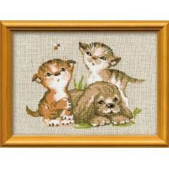 """Набор для вышивки Риолис 673 """"Котята и щенок"""""""