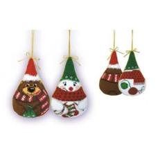 """Набор для вышивки Риолис 927 Новогодние игрушки 2 шт. """"Снеговик и медведь"""""""