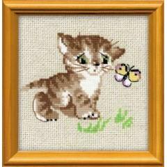 """Набор для вышивки Риолис 1049 """"Котенок с бабочкой"""""""