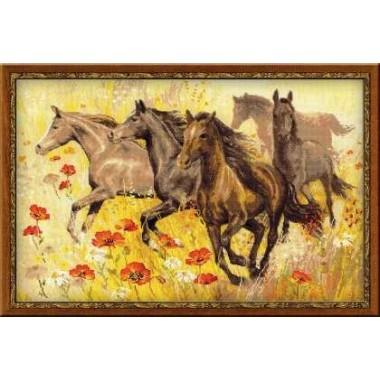 """Набор для вышивки крестом Риолис 1064 """"Табун лошадей"""""""