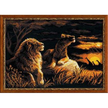 """Набор для вышивки крестом Риолис 1142 """"Львы в саванне"""""""