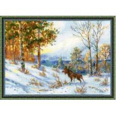 """Набор для вышивки Риолис 1528 по мотивам картины В.Л.Муравьева """"Лось в зимнем лесу"""""""