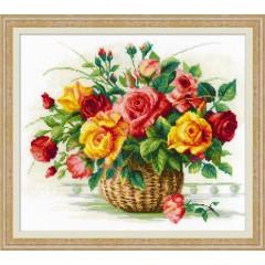 Набор для вышивания крестом Риолис 1722 Корзина с розами