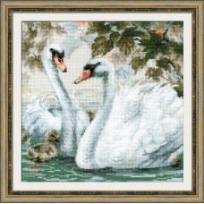 Набор для вышивания крестом Риолис 1726 Белые лебеди
