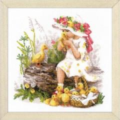 Набор для вышивания крестом Риолис 1781 Девочка с утятами