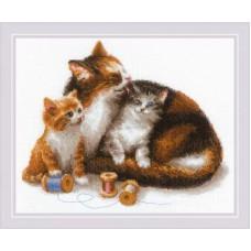 Набор для вышивания крестом Риолис 1811 Кошка с котятами