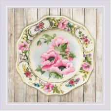 Набор для вышивания Риолис РТ-0075 Тарелка с розовыми маками