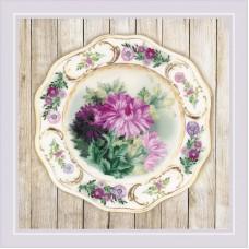 Набор для вышивания Риолис РТ-0076 Тарелка с хризантемами