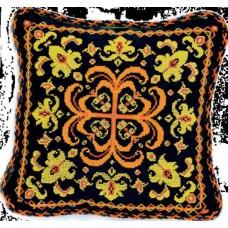 """Набор для вышивки крестом Чарівна Мить 333/1 """"Подушка с желто-оранжевым орнаментом"""""""