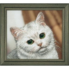 """Набор для вышивки бисером Чарівна Мить Б-737 """"Белый котик"""""""
