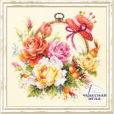 Набор для вышивки крестом Чудесная игла 100-122 Розы для мастерицы