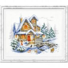 Набор для вышивки крестом Чудесная игла 110-042 Зимний коттедж