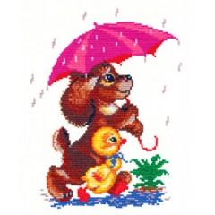 """Набор для вышивки Чудесная игла 18-01 """"Прогулка под дождем"""""""