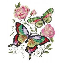 """Набор для вышивки Чудесная игла 42-04 """"Бабочки и розы"""""""