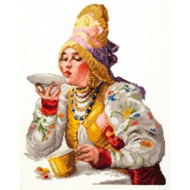 """Набор для вышивки Чудесная игла 66-01 """"Боярышня за чаем"""""""