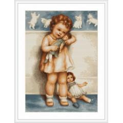 """Набор для вышивания Luca-S B370 """"Девочка с куклой"""""""