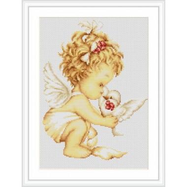 """Набор для вышивки Luca-S G369 """"Ангелочек с голубями"""""""