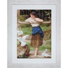"""Набор для вышивки Luca-S B516 """"Девушка дразнящая голубей"""""""
