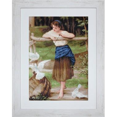 """Набор для вышивки Luca-S G516 """"Девушка дразнящая голубей"""""""