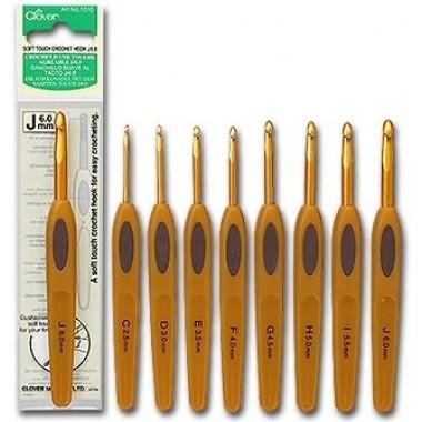Крючок для вязания алюминиевый с мягкой ручкой Clover Япония (3.25mm)