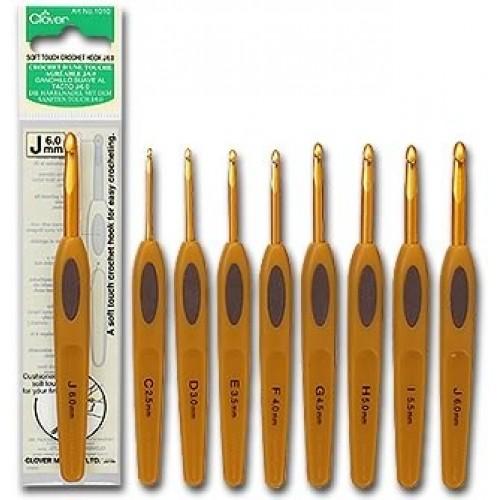 ᐉ крючок для вязания алюминиевый с мягкой ручкой Clover япония