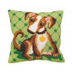 """Набор для вышивания Collection D'Art 5157 Подушка """"Comic Dog on Green"""""""