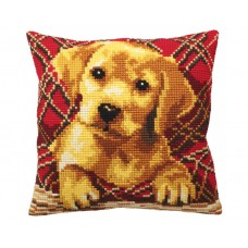 """Набор для вышивания Collection D'Art 5160 Подушка """"Cute Puppy Plaid"""""""