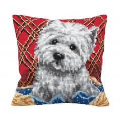 """Набор для вышивания Collection D'Art 5161 Подушка """"Cute Puppy Plaid"""""""