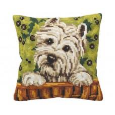 """Набор для вышивания Collection D'Art 5162 Подушка """"Curious Puppy"""""""