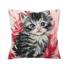 """Набор для вышивания Collection D'Art 5164 Подушка """"Cute Kitten in Pink"""""""