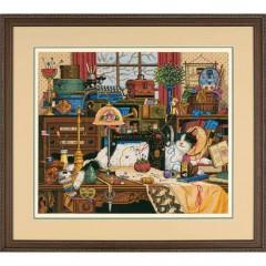 """Набор для вышивки крестом Dimensions 03884 """"Кот в швейной комнате"""""""