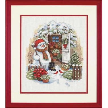 """Набор для вышивки Dimensions 08817 """"Снеговик во дворе"""""""