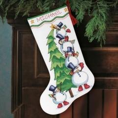 """Набор для вышивки Dimensions 08820 """"Снеговики и елка"""""""