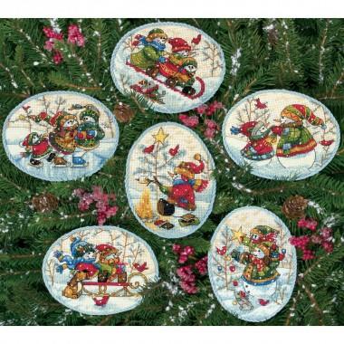 """Набор для вышивки Dimensions 08828 """"Рождественские украшения игривый снеговик"""""""