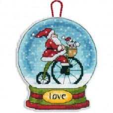 Набор для вышивки крестом Dimensions 70-08903 Снежный шар — Любовь. Украшение