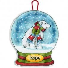Набор для вышивки крестом Dimensions 70-08906 Снежный шар — Надежда. Украшение
