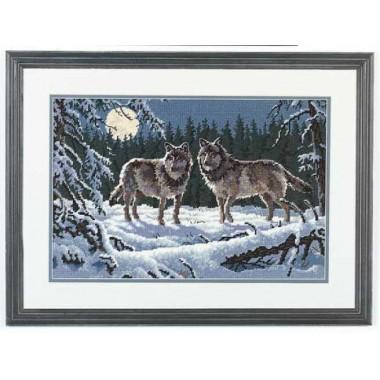 """Набор для вышивки Dimensions 12153 """"Волки на восходе луны"""""""