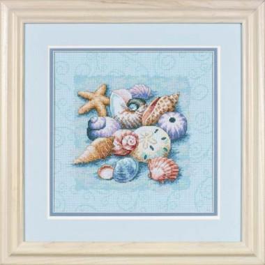 """Набор для вышивки крестом Dimensions 13725 """"Ракушки на голубом"""""""