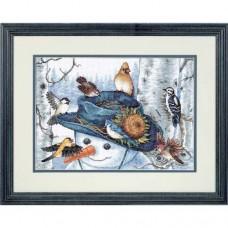 """Набор для вышивки крестом Dimensions 35137 """"Снеговик и подсолнух"""""""