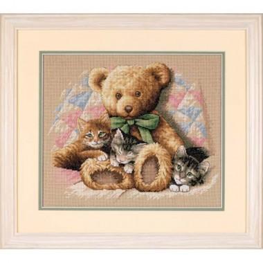 """Набор для вышивки Dimensions 35236 """"Мишка и котята"""""""