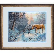"""Набор для вышивки Dimensions 70-35294 """"Морозное утро и лошади"""""""