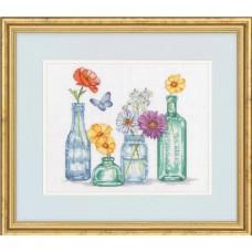 Набор для вышивки крестом Dimensions 70-35397 Бутылки с полевыми цветами